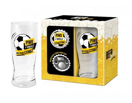 BEER GIFTS - otwieracz z magnesem + szklanka do piwa 500ml - Piwo i mecz nie mogą czekać!