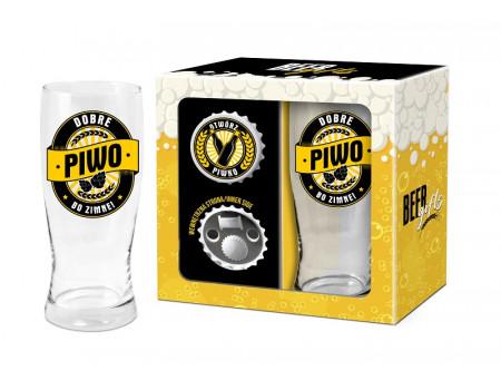 BEER GIFTS - otwieracz z magnesem + szklanka do piwa 500ml - Dobre piwo bo zimne!