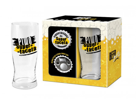 BEER GIFTS - otwieracz z magnesem + szklanka do piwa 500ml - Piwo Super-faceta