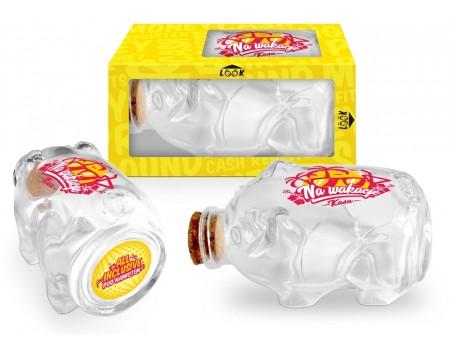 Skarbonka świnka - szklana z korkiem - Na wakacje