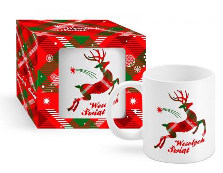 Kubek świąteczny 300ml - Wesołych Świąt (renifer krata)
