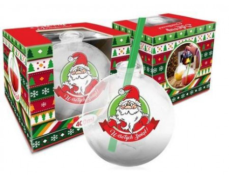 Szklanka świąteczne BOMBKA 400ml - Mikołaj