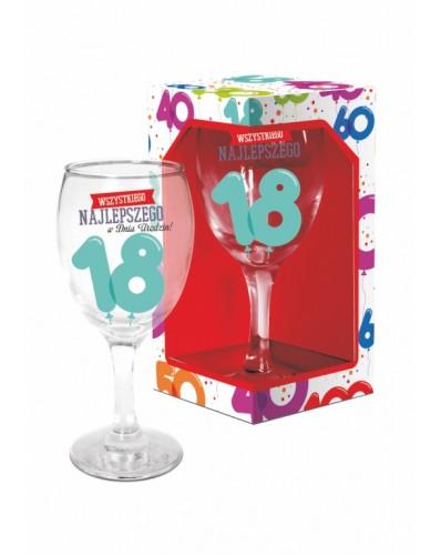 BALONIKI - kieliszek do wina 220ml - 18 urodziny