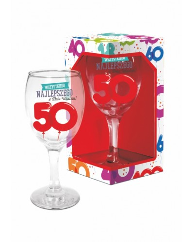 BALONIKI - kieliszek do wina 220ml - 50 urodziny