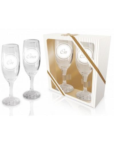 ŚLUBNE - zestaw 2 kieliszków do szampana 190ml - Ona i On