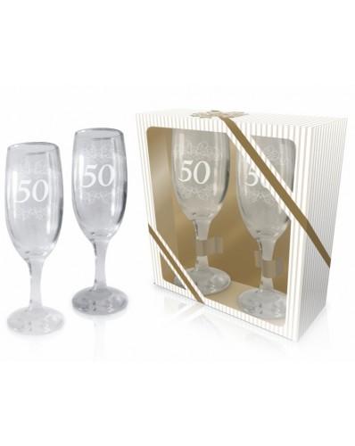 ŚLUBNE - zestaw 2 kieliszków do szampana 190ml - 50 rocznica