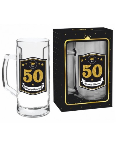 GOLD - kufel Berna 500ml - 50 urodziny