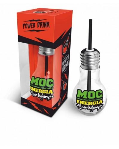 """POWER DRINK - szklanka żarówka 400ml """"Moc, energia"""""""