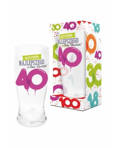 BALONIKI - szklanka do piwa 500ml - 40 urodziny
