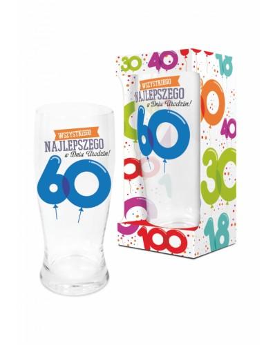BALONIKI - szklanka do piwa 500ml - 60 urodziny