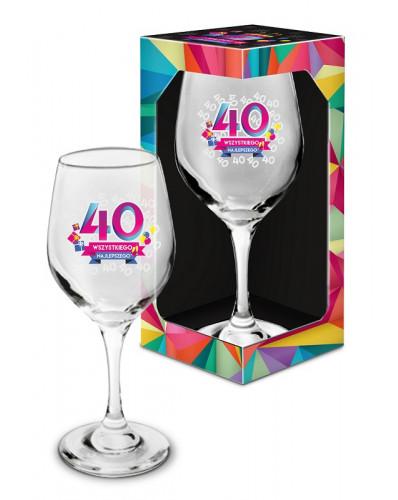 URODZINOWA GEOMETRIA - kieliszek do wina 270ml - 40 Wszystkiego najlepszego