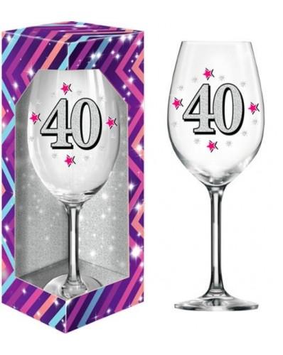 BROKAT XL kieliszek do wina 640ml - 40 urodziny
