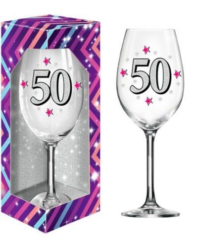 BROKAT XL kieliszek do wina 640ml - 50 urodziny
