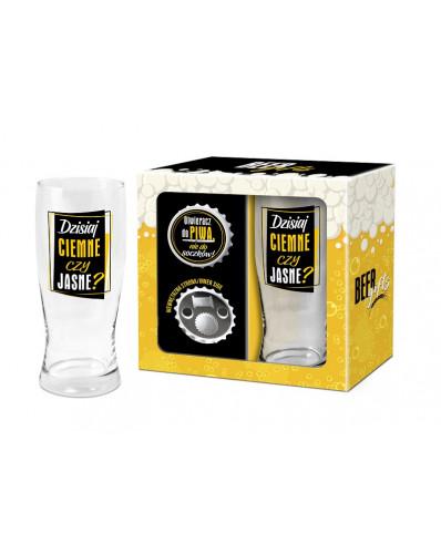 BEER GIFTS - otwieracz z magnesem + szklanka do piwa 500ml - Dzisiaj ciemne czy jasne?