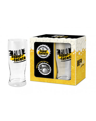 BEER GIFTS - otwieracz z magnesem + szklanka do piwa 500ml - Piwo Super-faceta
