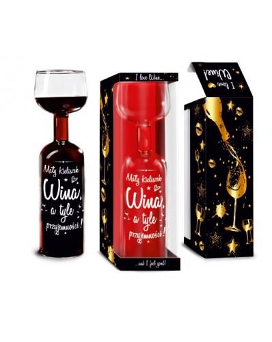 Butelko-kieliszek 750ml - Mały kieliszek wina