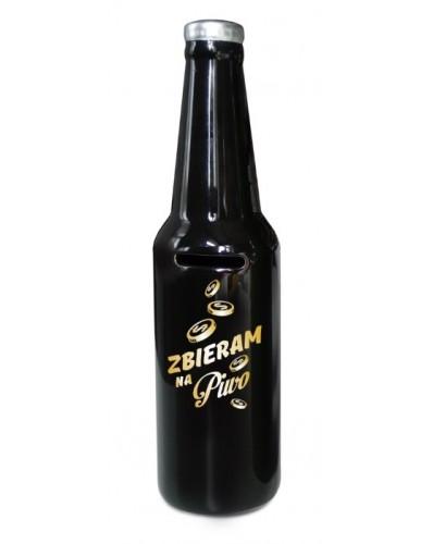 SKARBONKA butelka - Zbieram na piwo - czarna