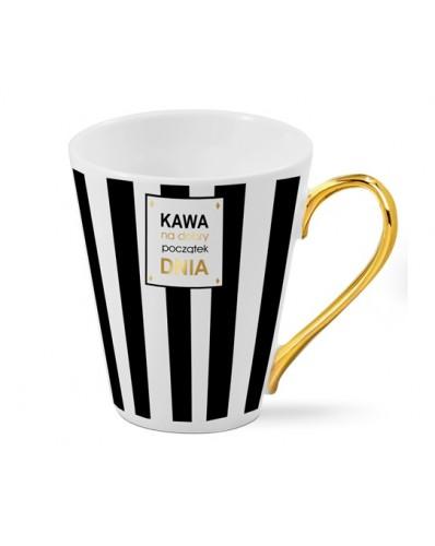 """ZŁOTE UCHO - kubek skos 300ml """"Kawa na dobry początek dnia"""""""