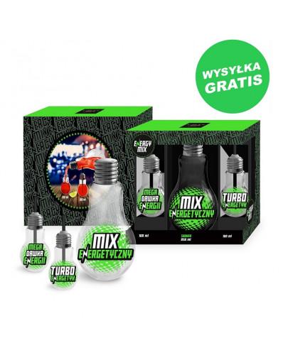 ENERGY MIX - butelka Żarówka 850ml i 2 szklanki Żarówki 100ml