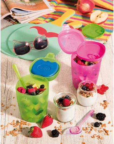 ENERGY - pojemnik na owoce i jogurt z wkładem chłodzącym 0,5L zielony