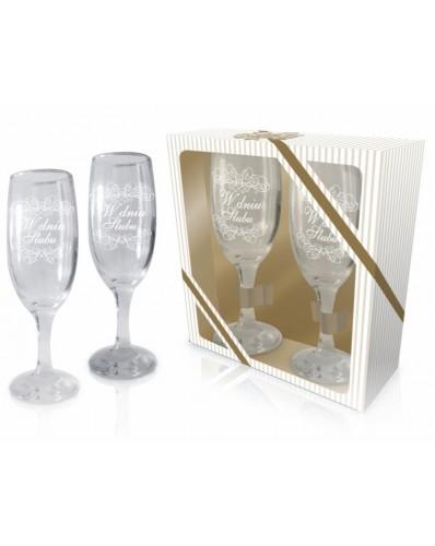 ŚLUBNE - zestaw 2 kieliszków do szampana 190ml - W dniu ślubu