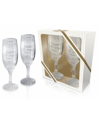 ŚLUBNE - zestaw 2 kieliszków do szampana 190ml - W rocznicę ślubu