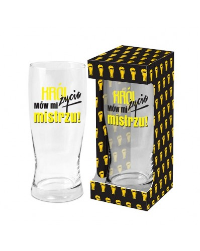 MĘSKI RESET - szklanka do piwa 500ml - Król życia