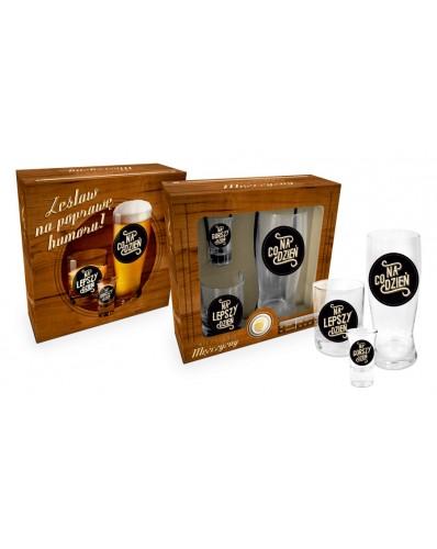 NIEZBĘDNIK MĘŻCZYZNY - szklanka do piwa + szklanka whisky + kieliszek