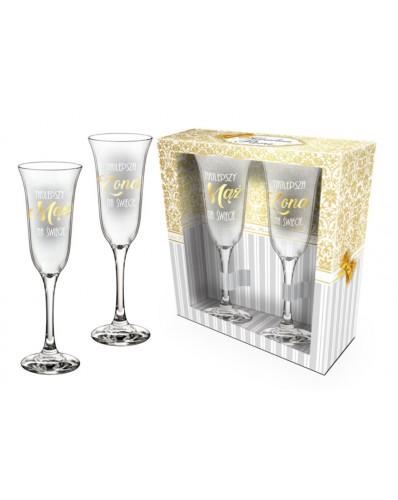 IDEALNA PARA - zestaw 2 kieliszków do szampana 170ml - Najlepszy mąż i żona