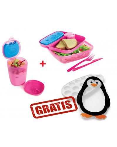 ! ZESTAW PROMO - lunch box 1,5L & pojemnik na jogurt z wkładem chłodzącym + pojemnik do kostek lodu GRATIS róż