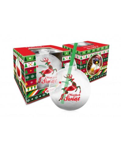 Szklanka świąteczne BOMBKA 400ml - Renifer (krata)