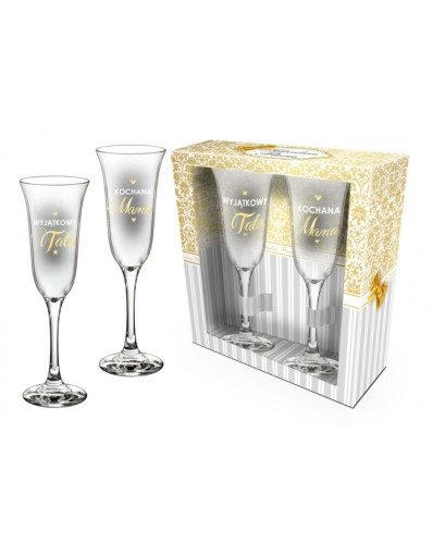 IDEALNA PARA - zestaw 2 kieliszków do szampana 170ml -  Wyjątkowy Tata i kochana Mama