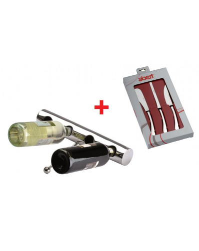 ! ZESTAW PROMO - stojak na wino + noże do sera
