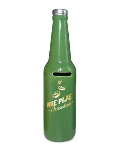 SKARBONKA butelka - Nie piję, oszczędzam - zielona