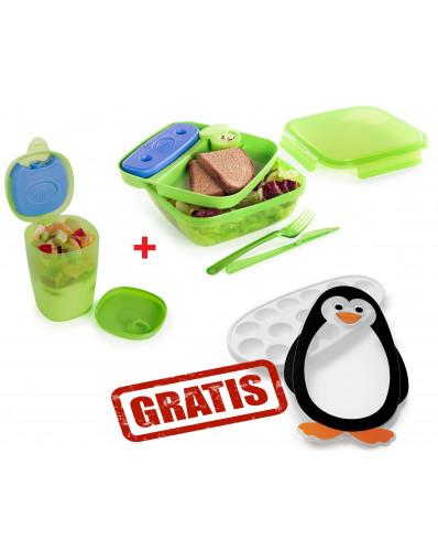 ! ZESTAW PROMO - lunch box 1,5L & pojemnik na jogurt z wkładem chłodzącym + pojemnik do kostek lodu GRATIS zielony